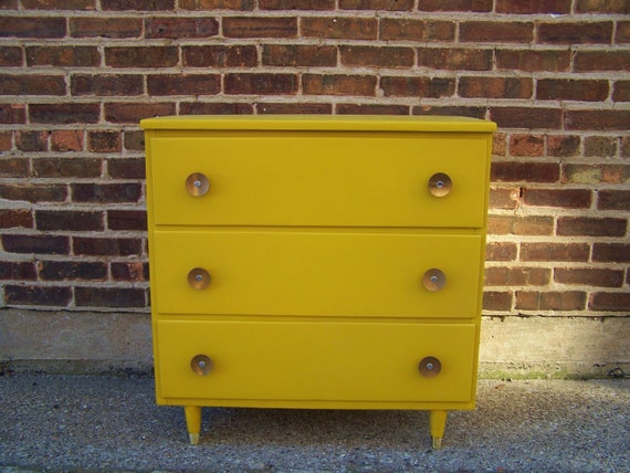 Vintage Petite Dresser In Mustard Yellow