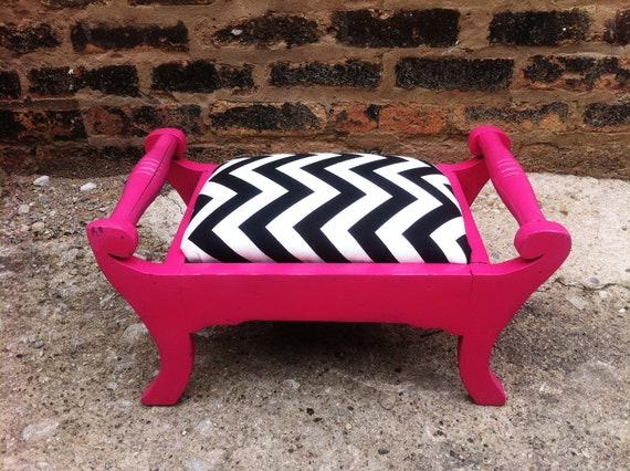 Funky Footstool In Raspberry and Chevron
