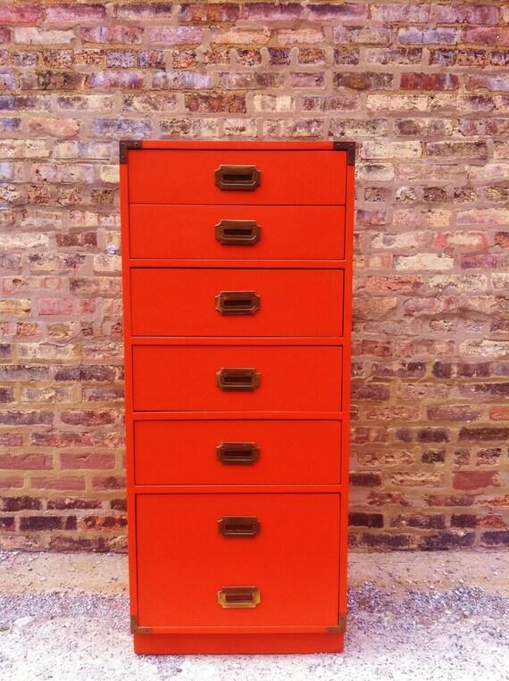 Vintage Campaign Dresser In Tangerine