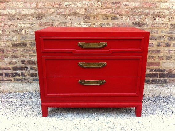 Vintage Chest of Drawers In Lipstick Red