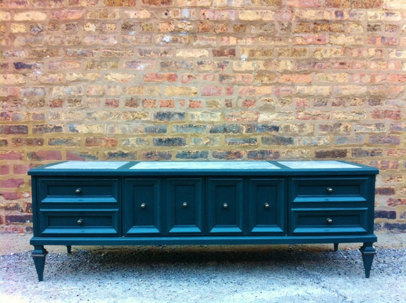 Marble Top Media Console In Midnight Green