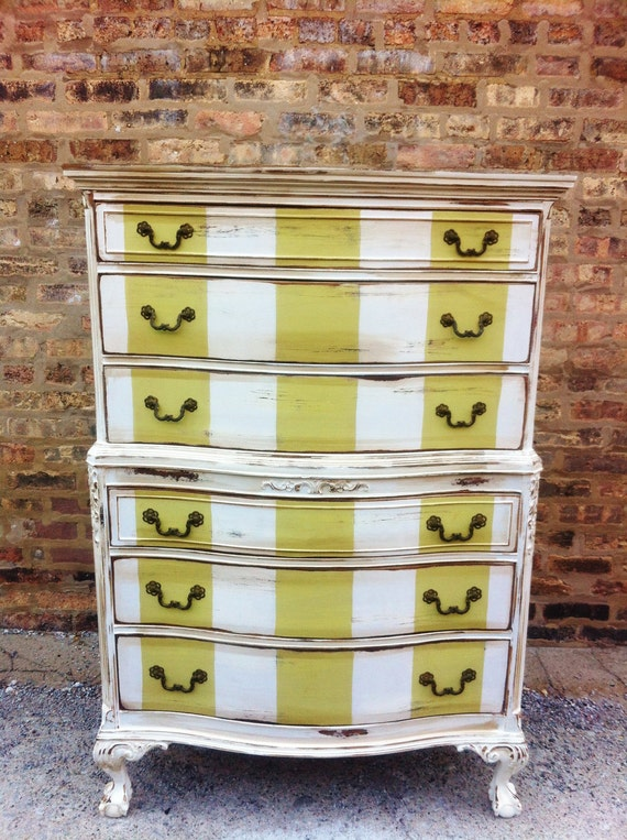 Vintage Distressed Striped Dresser