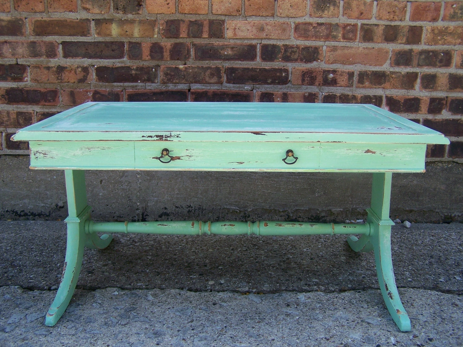 Distressed Mint Green Coffee Table