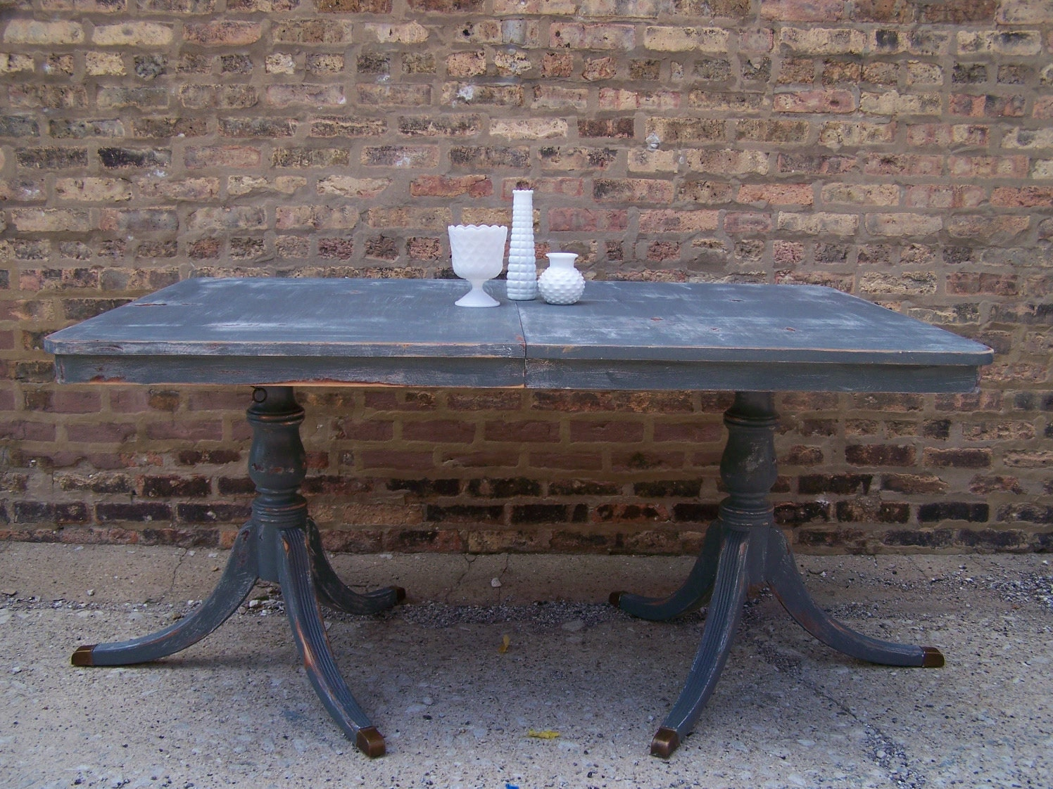 huge distressed vintage dining table in gray reserved by