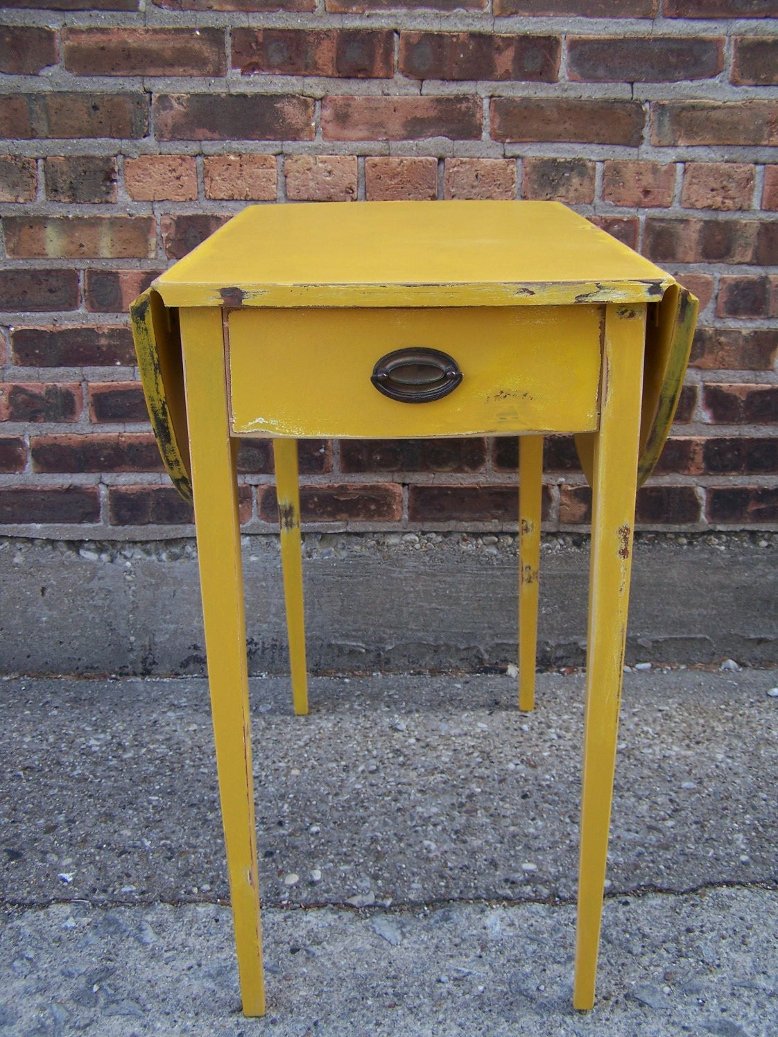 Distressed Side Table In Mustard Yellow