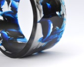 Wide resin cuff bangle - Blue Black Ink Swirl