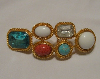 Accessocraft NYVintage Eighties Turquoise Coral Rhinestone Southwestern  Buckle