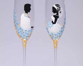 Hand painted Wedding Toasting Flutes Set of 2 Personalized Champagne glasses Love in Blue Sky blue, yellow and white