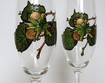 Hand painted Wedding Toasting Flutes Set of 2 Personalized Champagne glasses Hazel Tree- for wedding theme