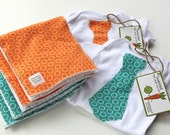 Little Man Gift Set includes Two Tie Applique Onesies and Coordinating Burp Cloths in Blue and Orange by Smashed Peas and Carrots