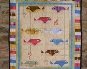 Here Fishy Fishy Quilted wallhanging cabin decor plaid fish quilt