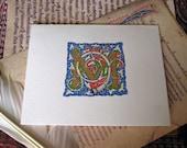 3 Monogrammed 'M' cards