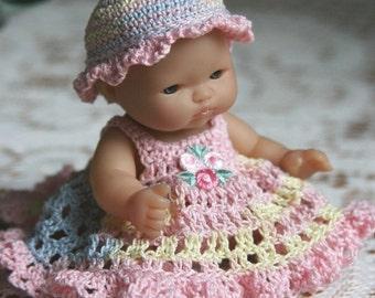 PDF PATTERN Crochet 5 inch Berenguer Baby Doll Sundress Full Skirt Lt Pastels