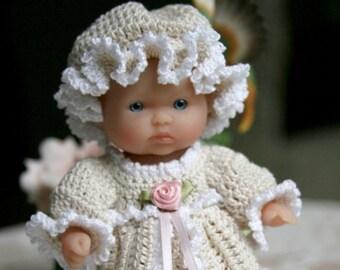PDF PATTERN Crochet 5 inch Berenguer Baby Doll Victorian Dress Set Rose