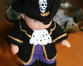 PDF PATTERN Crochet 5 inch Berenguer Baby Doll Pirate Boy Outfit