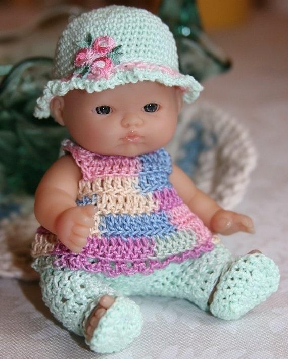 How To Make Crochet Amigurumi Patterns : PATTERN Crochet 5 inch Berenguer Baby Doll Pastel Set Play in