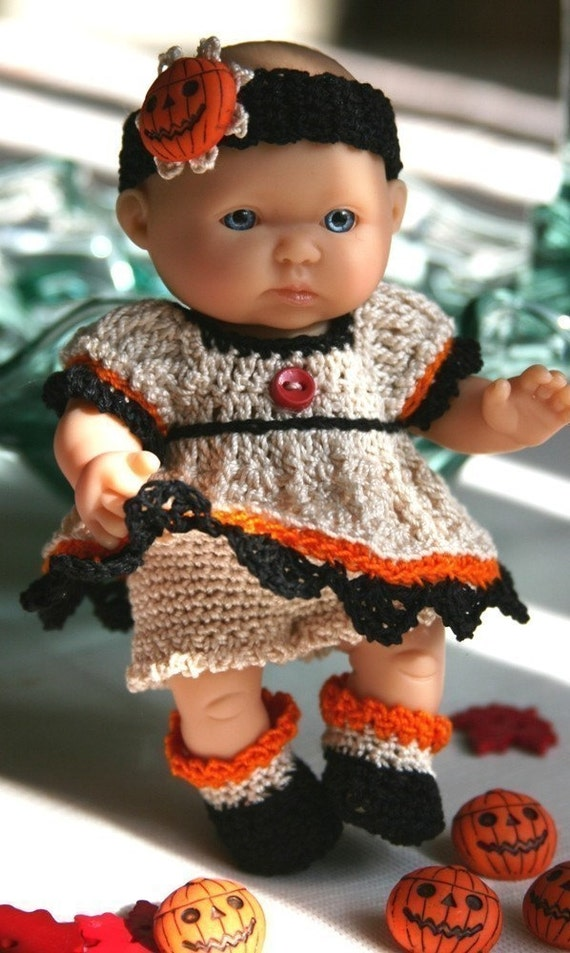 PDF PATTERN Crochet 5 inch Berenguer Baby Doll Halloween Pumpkin Patch Dress Set
