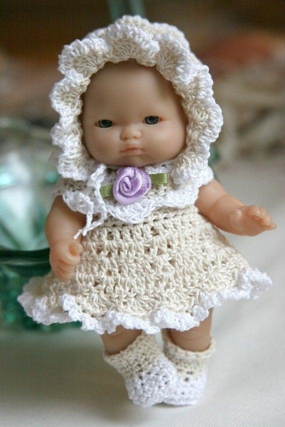 PDF PATTERN Crochet 5 inch Berenguer Baby Doll Dress Scallopes