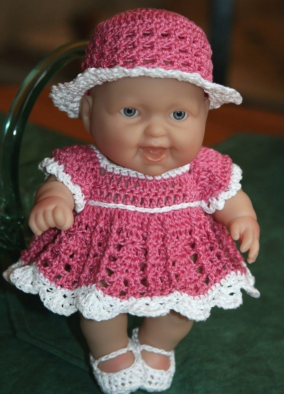 Knitting Patterns For 8 Berenguer Doll Clothes : PDF PATTERN Crochet 8 inch Berenguer Baby Doll Dress Set