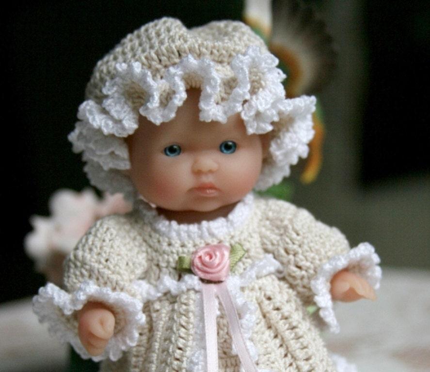 Baby Dress Crochet Pattern Victorian : PDF PATTERN Crochet 5 inch Berenguer Baby Doll Victorian Dress