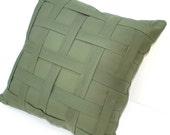 Olive Green Woven Lattice Pillow