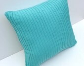 Upcycled  Recycled Cotton Turquoise Sweater pillow