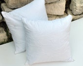 Pair of White Cotton Embroidered Pillow Covers