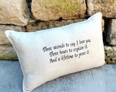 Love Quote Embroidered Pillow with quote- wedding gift shower gift