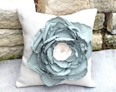 Shabby Chic White Burlap Pillow with Appliqued Sage and Cream Singed Flower