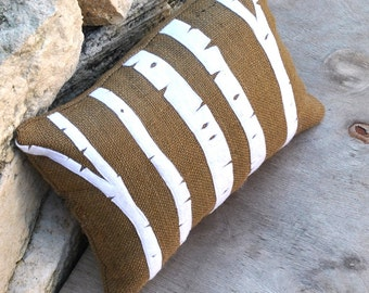 Birch Trees Appliqued on Brown Burlap Pillow