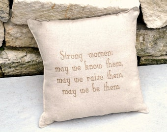 Women Quote Unbleached Cotton Embroidered Pillow