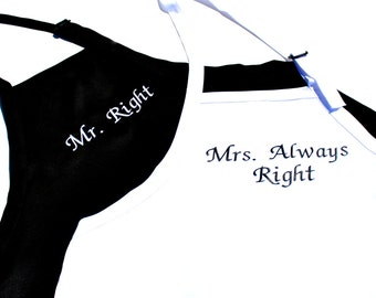 Mr Right and Mrs Always Right Embroidered Apron Set - Wedding Bridal Shower Gift