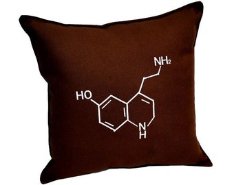 Serotonin  Chemical Molecular Structure Pillow
