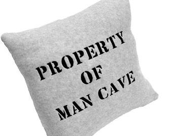 Man Cave Pillow - Property of Man Cave Pillow Gray Fleece