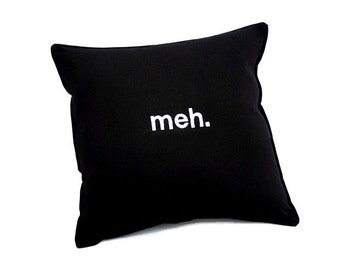 Meh Pillow- White embroidery on black cotton blend fabric