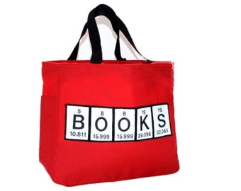 Book Tote Spelled with Periodic Table Chemistry Science-inside pocket