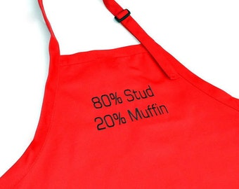 Men Apron- Red Stud Muffin- Cotton with Adjustable Neck and pockets