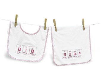 Geeky Baby Gift-  Science Periodic Table - Embroidered Bib  Burper Set