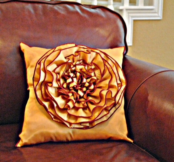 Mustard and Cranberry Flower Pillow