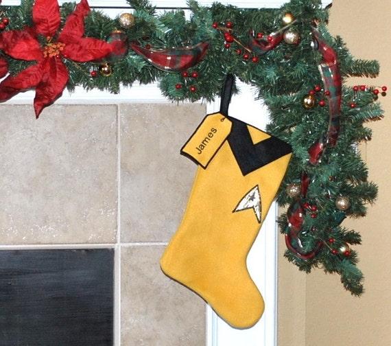 Gold Star Trek Commander Christmas Stocking
