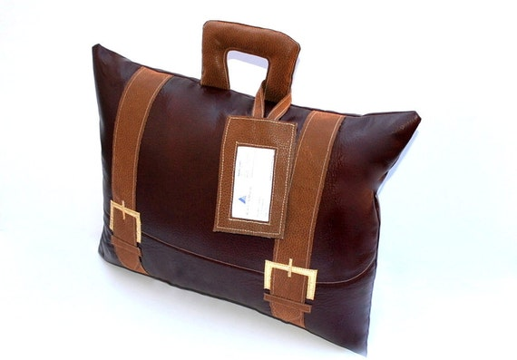 Faux Leather Briefcase Pillow with Business Card Tag