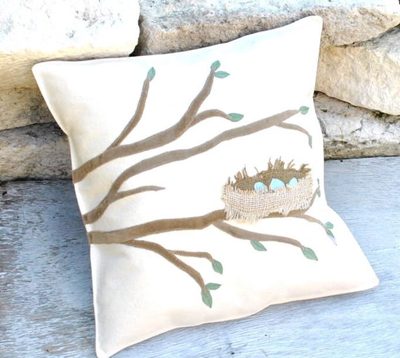 Tree Branch with Nest  Pillow Cover