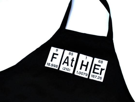 Father Periodic Table Elements Black Men's Grill Apron