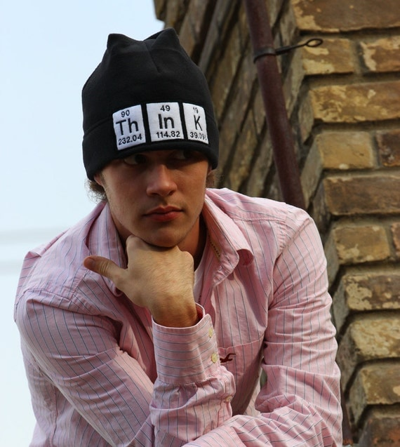 Beanie Think Periodic Table Black Science  Fleece