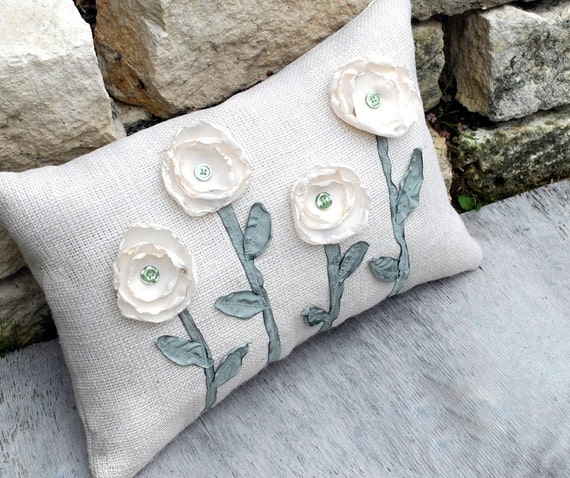 White Burlap Pillow Appliqued with  Four  Cream Flowers with Sage Green Stems and Leaves
