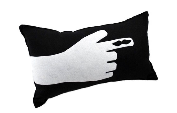 Mustache  on Finger Pillow- Movember- Black Cotton Blend Fabric with Recycled Felt Applique