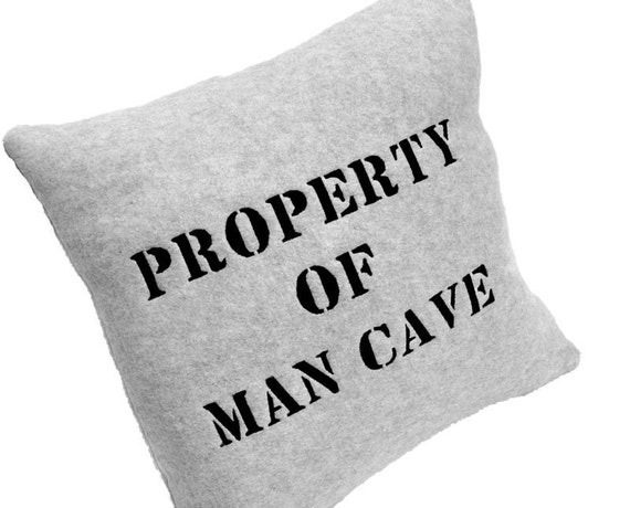 Man Cave Pillow - Property of Man Cave Pillow Gray Fleece
