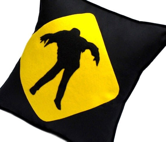Zombie Warning Black and Yellow Cotton and Recycled Felt Pillow