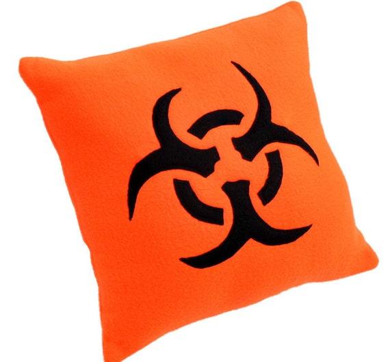 Biohazard Neon Orange Fleece Pillow