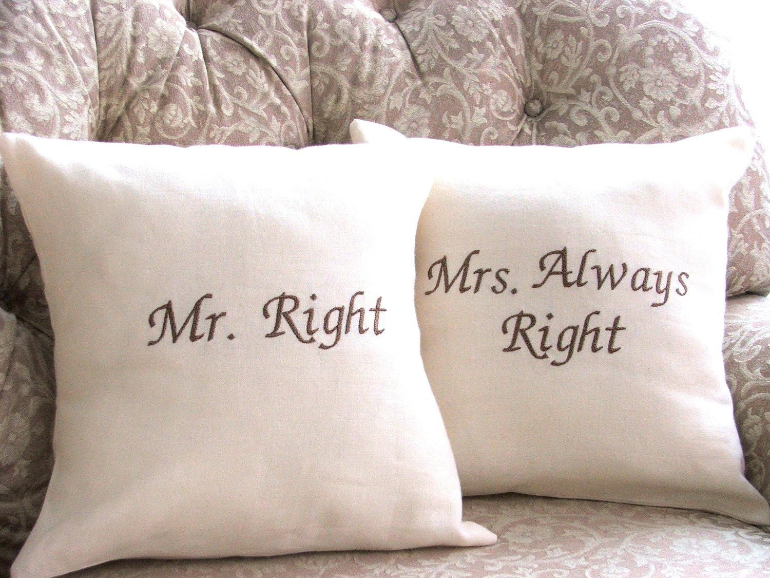 mr right and mrs always right linen pillow by. Black Bedroom Furniture Sets. Home Design Ideas